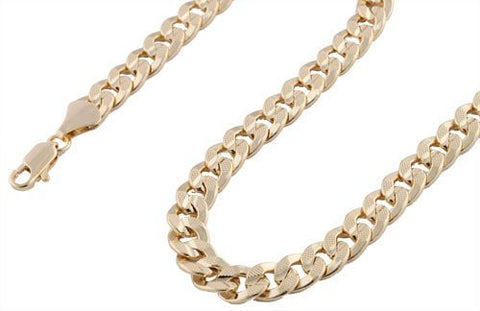 Goldtone 10mm 36 Inch Frosted Concave Cuban Chain Necklace