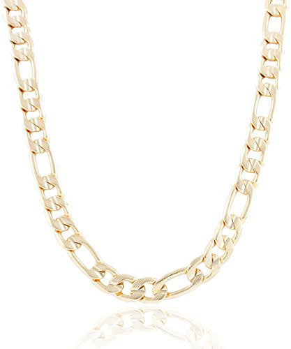 Goldtone 11mm Frosted Figaro Chain
