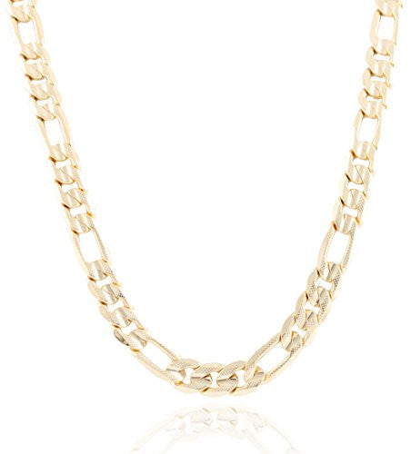Goldtone 12mm Frosted Figaro Chain