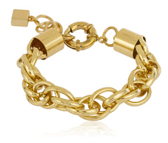 Goldtone 13mm 9 Inch Rolo Chain Bracelet