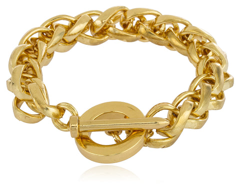 Goldtone 13mm 9 Inch Wheat Chain Toggle Bracelet