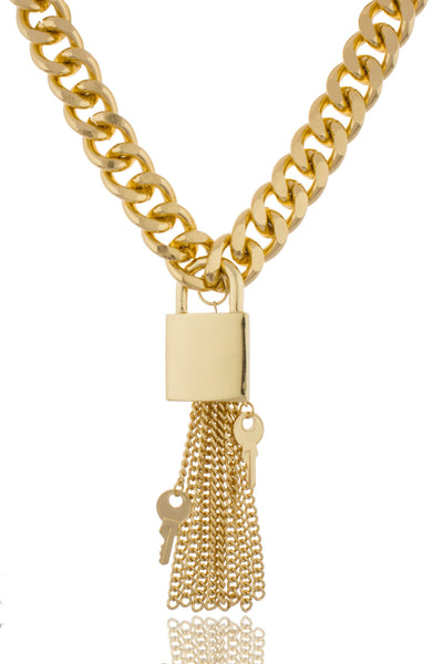 Goldtone 18-19 Inch Lock And Key With Tassel Adjustable Bold Cuban Chain Necklace