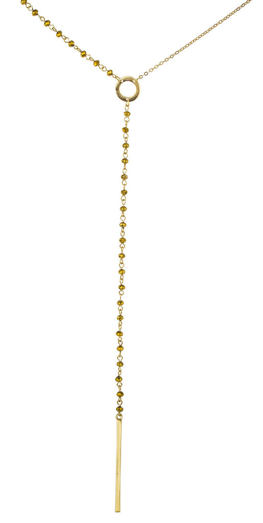 Goldtone 18 Inch Adjustable Beaded Necklace...