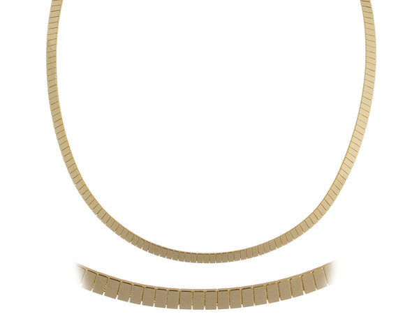 Goldtone 18 Inch Flat Design Omega Chain Choker Necklace