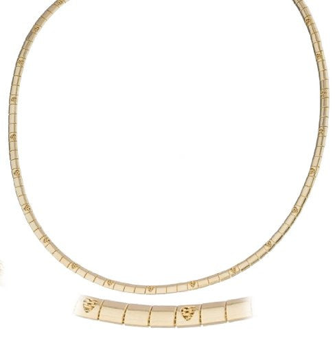 Goldtone 18 Inch Heart Design Omega Chain Choker Necklace