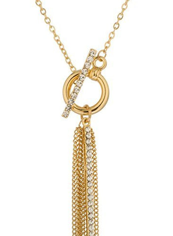 Goldtone 18 Inch Necklace With Long Iced Out Pendant And Dangling Chains