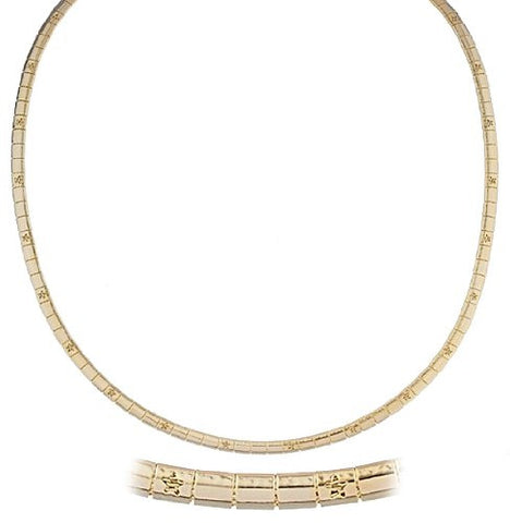 Goldtone 18 Inch Star Design Omega Chain Choker Necklace