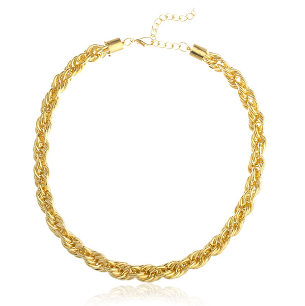 Goldtone 18 Inch Thick Rope Chain Necklace