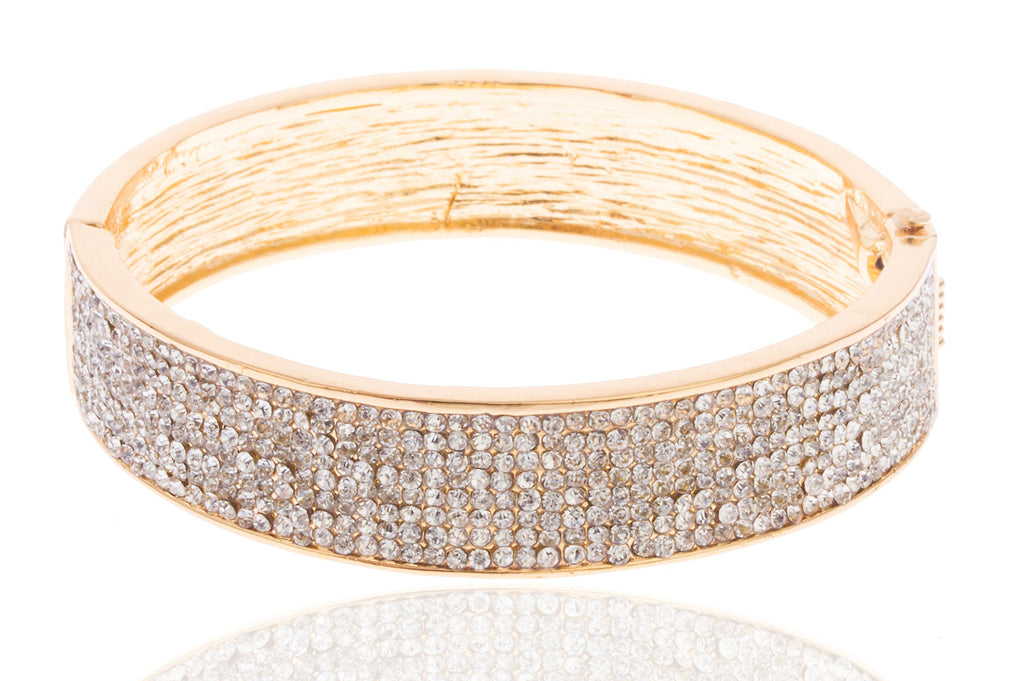 Goldtone 2.5 Inch Iced Out Bangle...