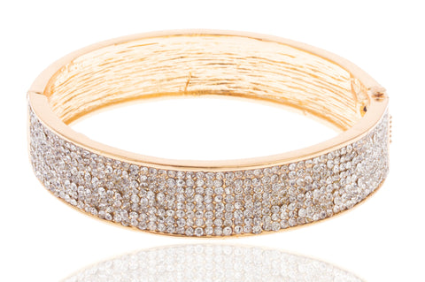 Goldtone 2.5 Inch Iced Out Bangle Bracelet