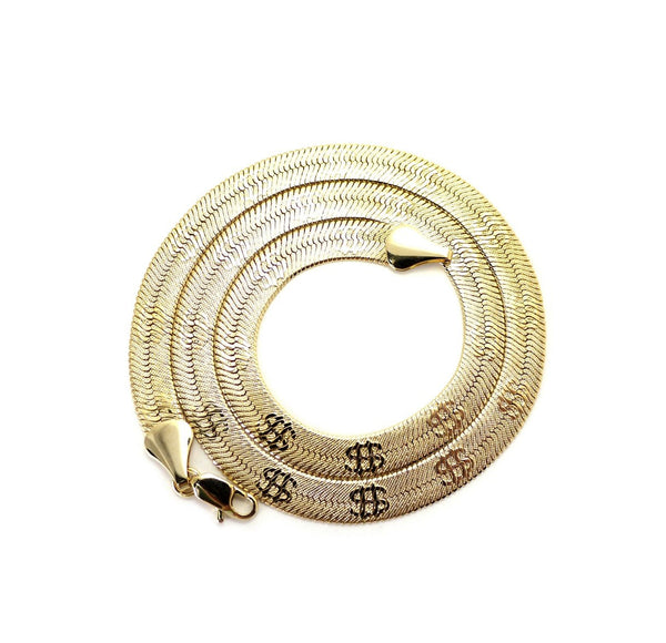 Goldtone 24 Inch Herringbone $ Chain Necklace