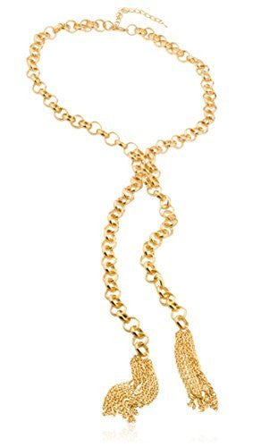 Goldtone 26-27 Inch Adjustable Rolo Chain Necklace With Tassels