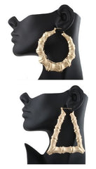 Goldtone 3.25 Inch Bamboo Style Hoop Earrings And A Triangle Bamboo 3.5 Inch Hoop Pincatch Earrings Set