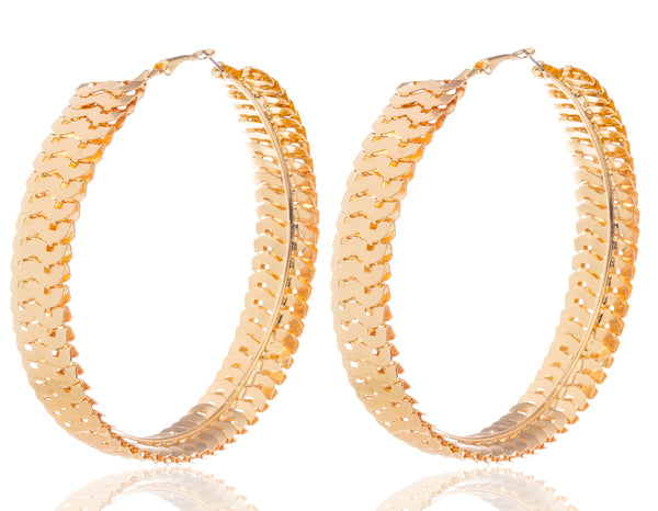 Goldtone 3.5 Inch Wave Design Earrings