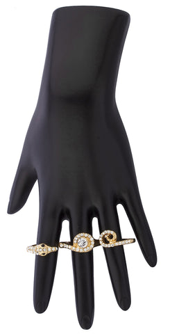 Goldtone 3 Finger Snake Cuff Ring With Clear Stones