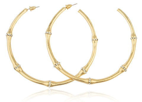 Goldtone 3 Inch Bamboo Hoop Earrings With Clear Stones