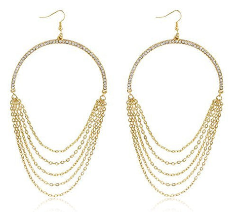 Goldtone 3 Inch Half Hoop Earrings With Dangling Multi Chains
