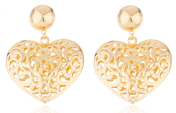 Goldtone 3 Inch Heart Earrings