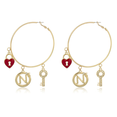 Goldtone 3 Inch Hoop Earrings With Heart Locket Key And Number 5 Charms Dangling With Stone