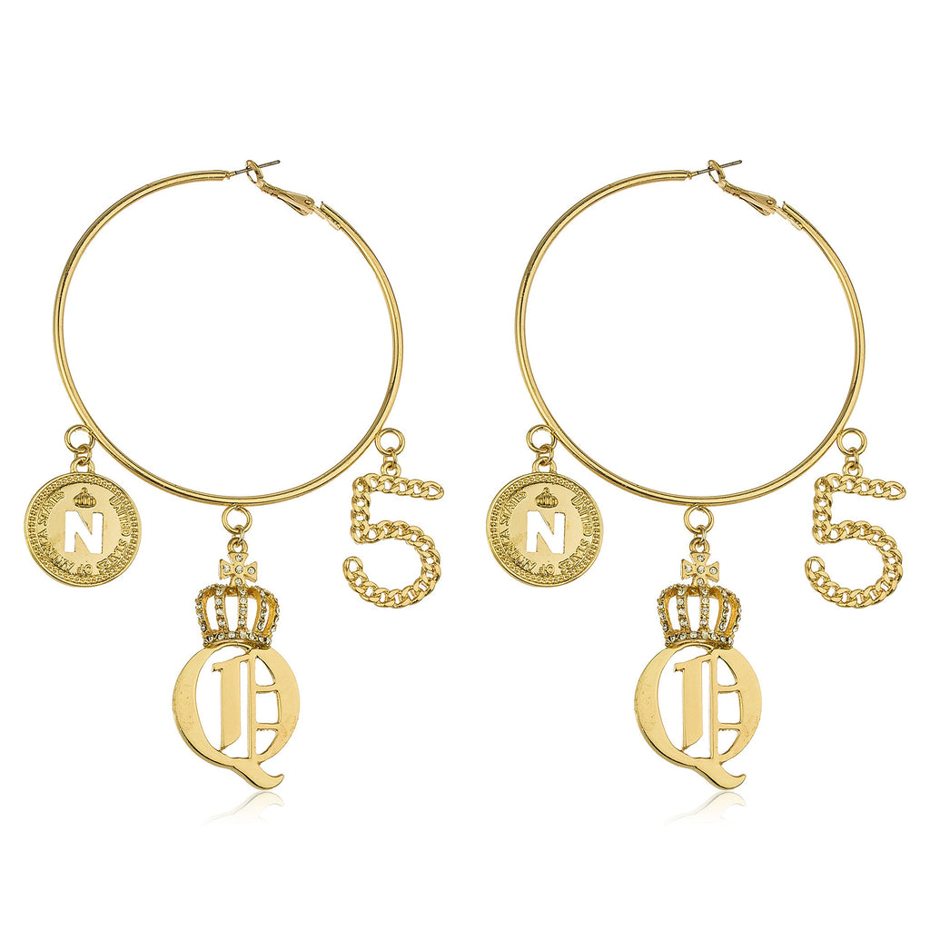 Goldtone 3 Inch Hoop Earrings With...