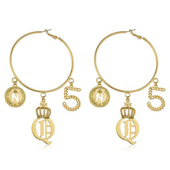 Goldtone 3 Inch Hoop Earrings With Royal Crown And Number 5 Charms Dangling With Stone