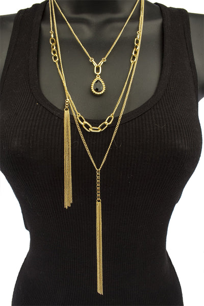 Goldtone 3 Layer With Black Pear Pendant And Dandling Link Chains Adjustable Necklace Jewelry Set