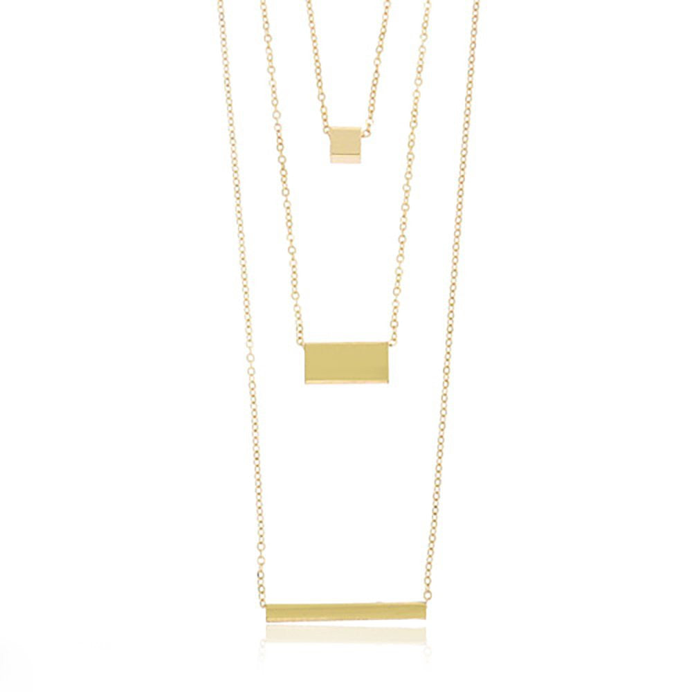 Goldtone 3 Layered Bar Pendant With...