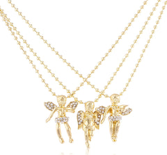 Goldtone 3 Layered Cherub Angel Micro Pendant 24 Inch Ball Chain Necklace Set