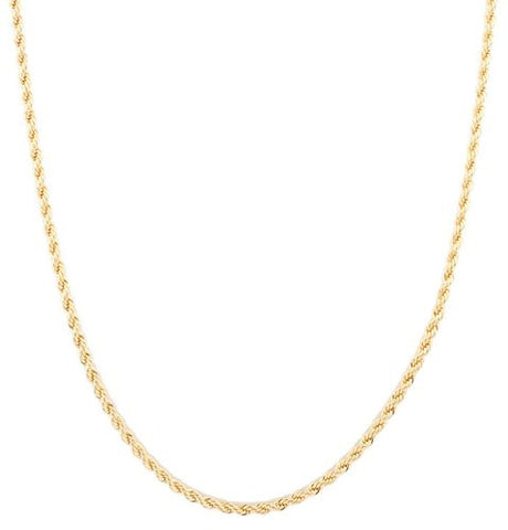 Goldtone 3mm 30 Inch Rope Chain Necklace