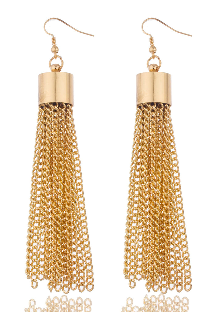 Goldtone 4 Inch Dangling Tassel Earrings...