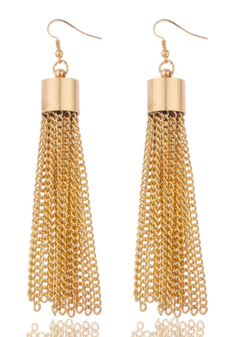Goldtone 4 Inch Dangling Tassel Earrings With Links