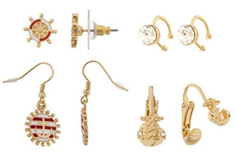 Goldtone 4 Pairs Of Assorted Nautical Earrings