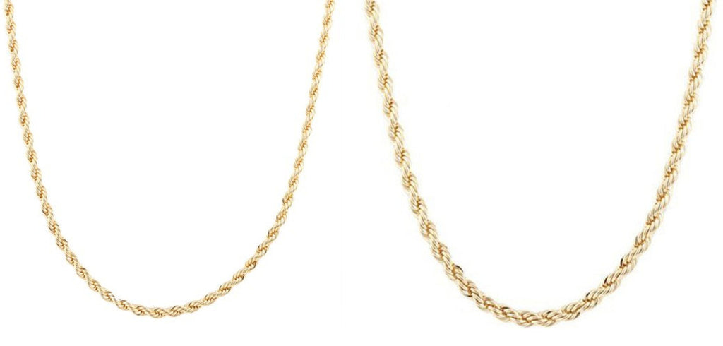 Goldtone 4mm 24 Inch Rope Chain...
