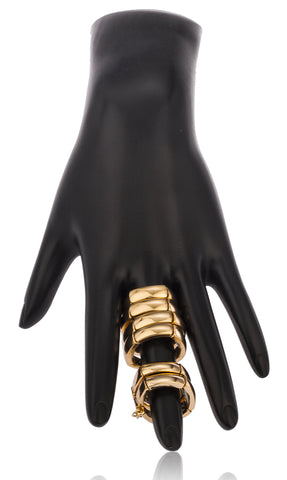 Goldtone 4x2 Elastic Stretch Double Finger Ring With Link Chain