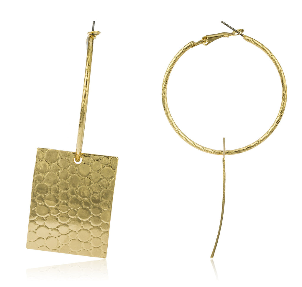 Goldtone 50mm Hoop Earrings With Rectangle...