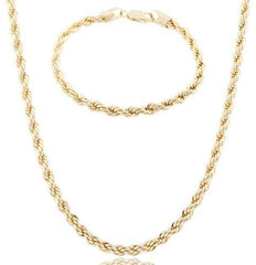 Goldtone 6mm 24 Inch D-Cut Rope Chain Necklace With A Matching Bracelet Jewelry Set - All Bracelet Sizes Available