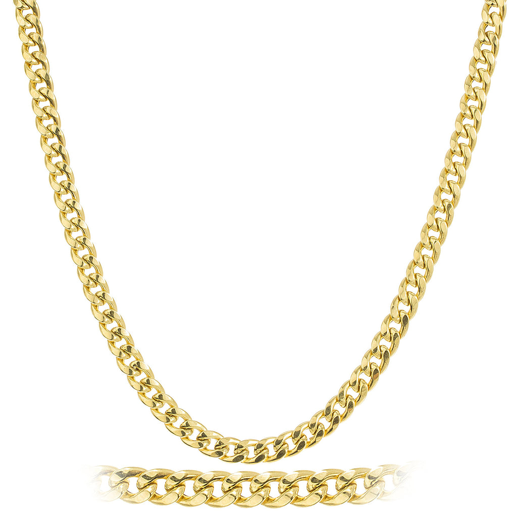 Goldtone 6mm Brass Cuban Chain Necklace...