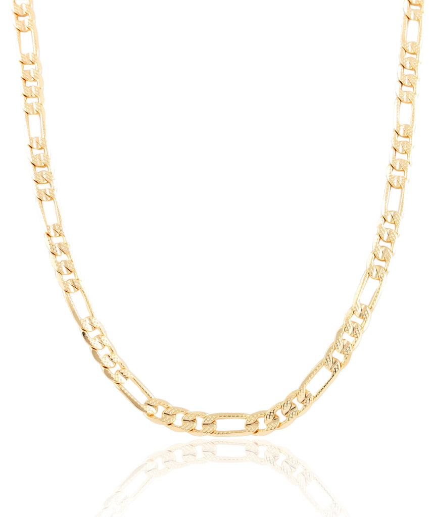 Goldtone 6mm Frosted Figaro Chain