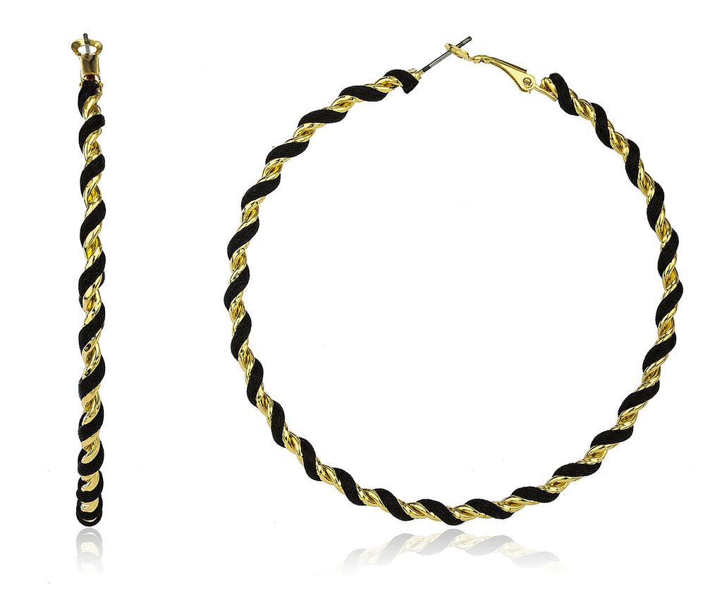 Goldtone 80mm Twist Design Hoop Earrings...