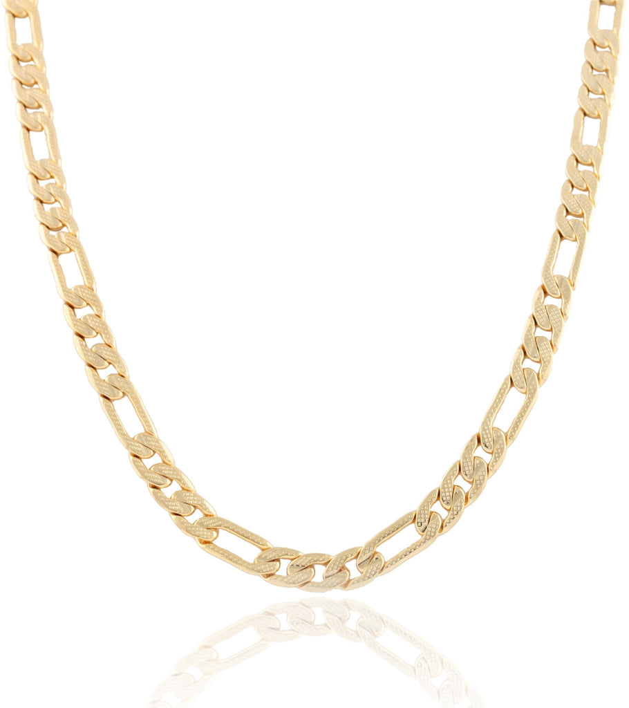 Goldtone 8mm Frosted Figaro Chain