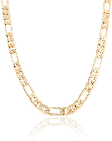 Goldtone 9mm Frosted Figaro Chain