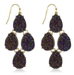 Goldtone Acrylic 4 Stones Teardrop Design Druzy Earrings (Amethyst)