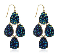 Goldtone Acrylic 4 Stones Teardrop Design Druzy Earrings (Blue)