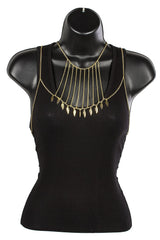 Goldtone Adjustable Body Chain With Dangling Feathers