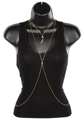 Goldtone Adjustable Body Chain With Dangling Horn