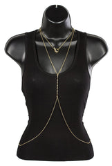 Goldtone Adjustable Body Chain With Rhinestones