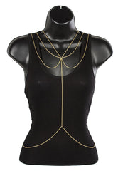 Goldtone Adjustable Body Rope Chain With Dangling Chains