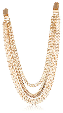 Goldtone Adjustable Chevron And Snake Style Jean Chain