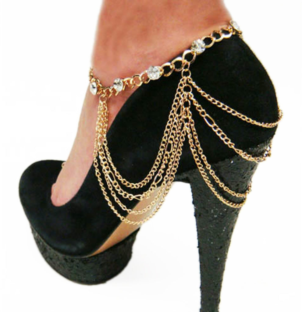Goldtone Adjustable Heel Chain With Stones...