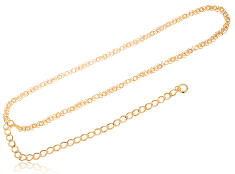 Goldtone Adjustable Length 3D Flower Style Belt Chain With Hanging Mooncut Ring